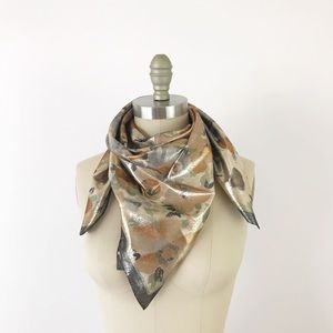 Vintage Metallic Gold Silver Floral Scarf 70s R731